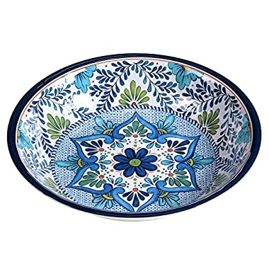 Certified International Talavera Melamine 13.75  x 2.75  Large Serving Bowl, Multicolor
