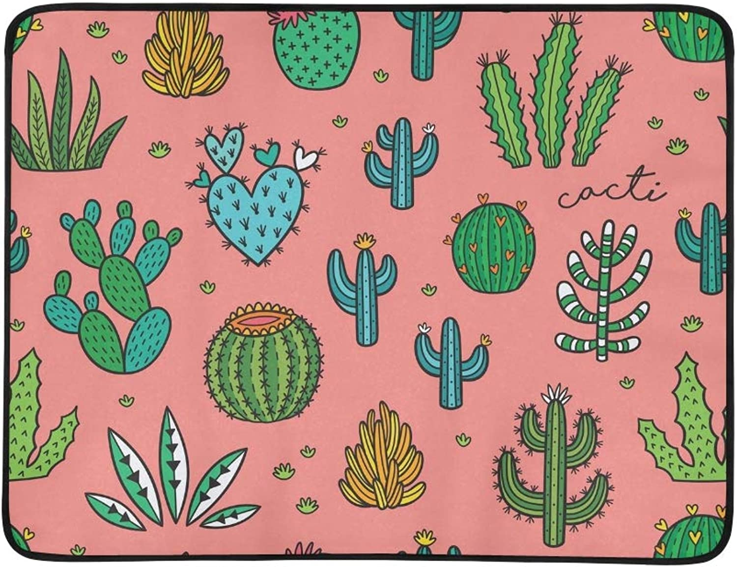 Cacti Ornament colorful Hand Drawn Portable and Foldable Blanket Mat 60x78 Inch Handy Mat for Camping Picnic Beach Indoor Outdoor Travel