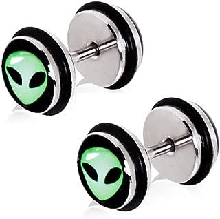 Pierced Owl Green Alien UFO Fake Cheater Plugs Earrings - 16g - Pair