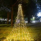 Ankway Waterfall Star String Lights, 370 LED Waterfall Christmas Fairy Lights 8 Lighting Modes Outside Tree Wall Decorations for Yard, Garden, New Year, Holiday, Birthday, Wedding, Party(Plug-in)