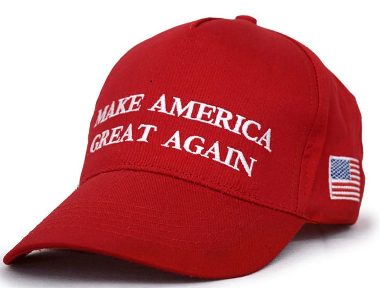 Besti Make America Great Again Donald Trump Slogan with USA Flag Cap Adjustable Baseball Hat Red