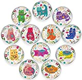 GBYMIUY Round Refrigerator Magnets, Cute Cat Glass Magnets Colorful Decoration for Fridge Office Calendar Whiteboard Photo Cabinet, for Cat Lovers, 12 Pcs 32MM with Storage Box