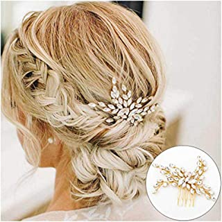 CanB Wedding Hair Accessories Bridal Hair Comb Crystal Headpieces Jewelry for Brides and Bridemaids (Gold)