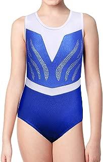 Leotards Girls Gymnastics Embroidery Shiny Aqua Rose Diamond Dance Clothes