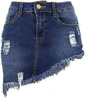 Women's Stretch Fit 5-Pocket Irregular Frayed Hem Mini Denim Jean Skirt