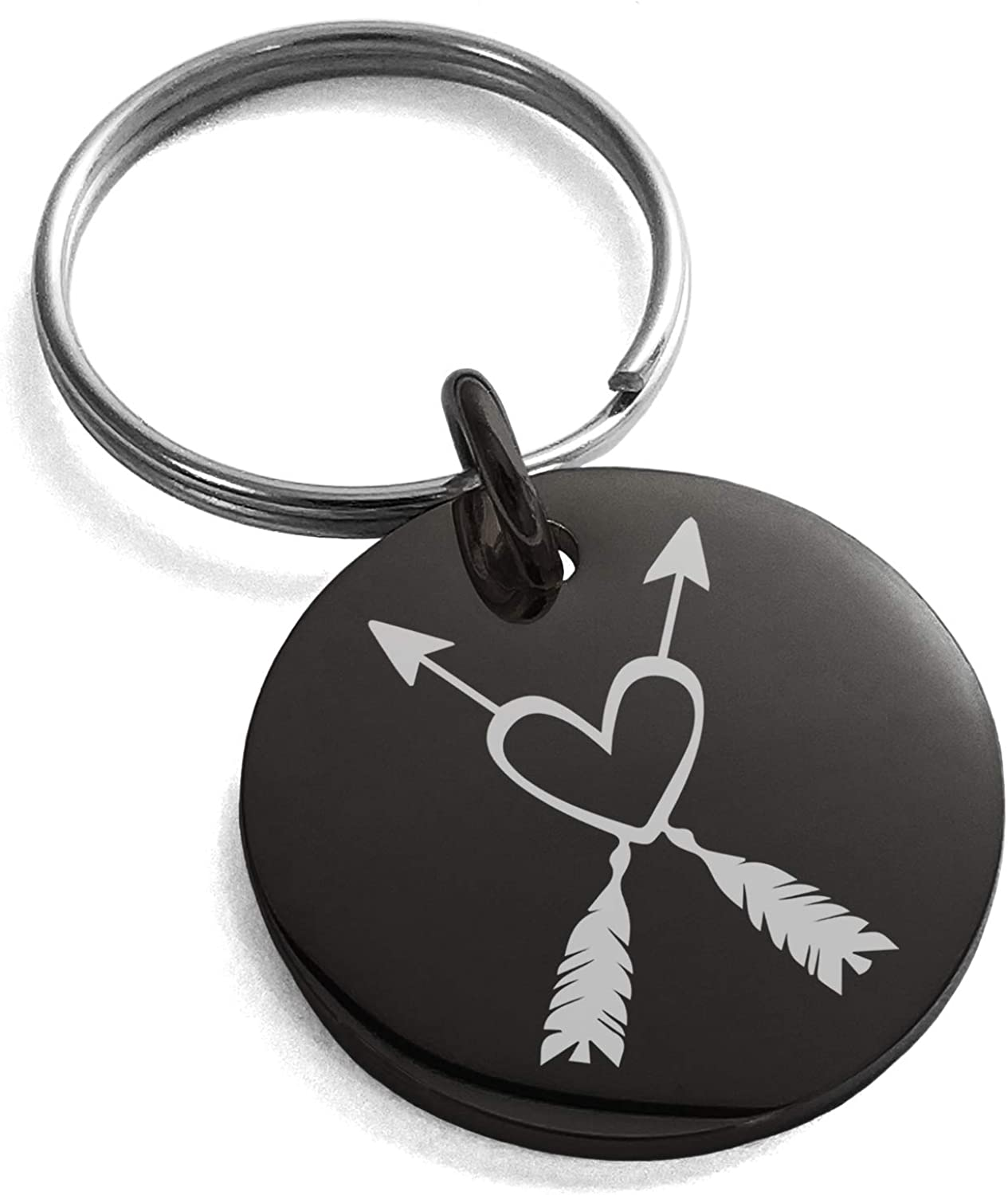 Tioneer Stainless Steel Heart + Arrows Small Medallion Circle Charm Keychain Keyring