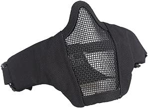 OneTigris メッシュ フェイス マスク ハーフマスク 曇らないフェイスガード サバゲー装備 コスプレ用((ブラック)ヘルメットに接続するための付属バンドがあり)