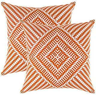 TreeWool Decorative Square Throw Pillowcases Set Kaleidoscope Accent 100% Cotton Cushion Cases Pillow Covers (18 x 18 Inches / 45 x 45 cm; Orange & White) - Pack of 2