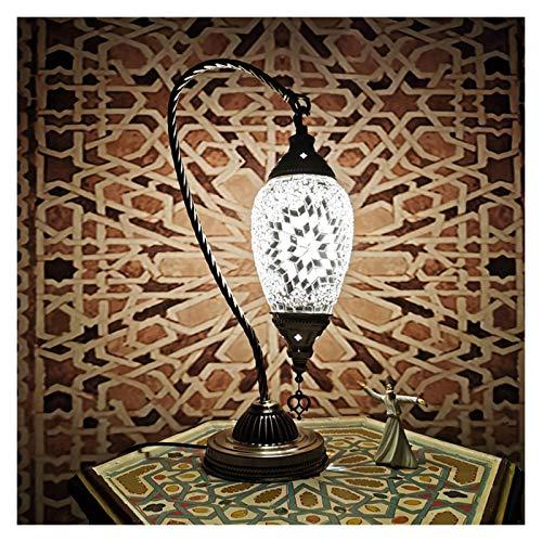 LYLY Lámpara de Mesa Lámpara de Mesa LED Turca romántica E14 Bombilla Lámpara de Mesa Dormitorio Sala de Estar Restaurante Hotel Mosaico Lámpara de Escritorio Lámpara Mesilla (Color : White)