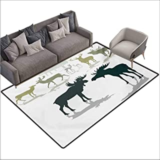 Door Rug Indoors Antlers Elk Deer and Fawn Silhouette Forest at The Background World Natural Habitat Theme Super Absorbent mud W78 xL94 Green Black