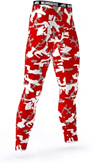 Full Length Tights- CAMO Summit Assault (red, White)- Boys Mens Football Basketball Compression Tights Sports Pants Baselayer Leggings to Match Uniforms