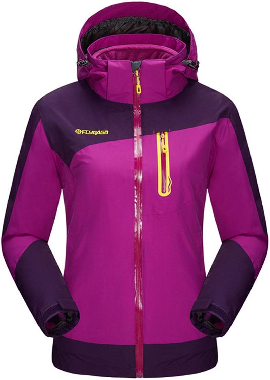 BOSOZOKU Women 3in1 Fleece Liner Waterproof Jacket Hiking Camping Sport Coat