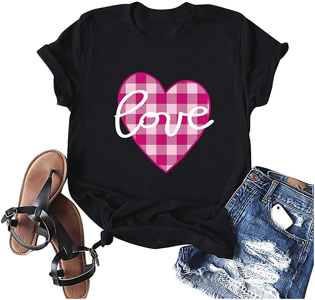 FABIURT T Shirts for Women, Womens Valentine's Day Plaid Heart Printed T-Shirt Casual Short Sleeve Tee Blouse Tunic Tops