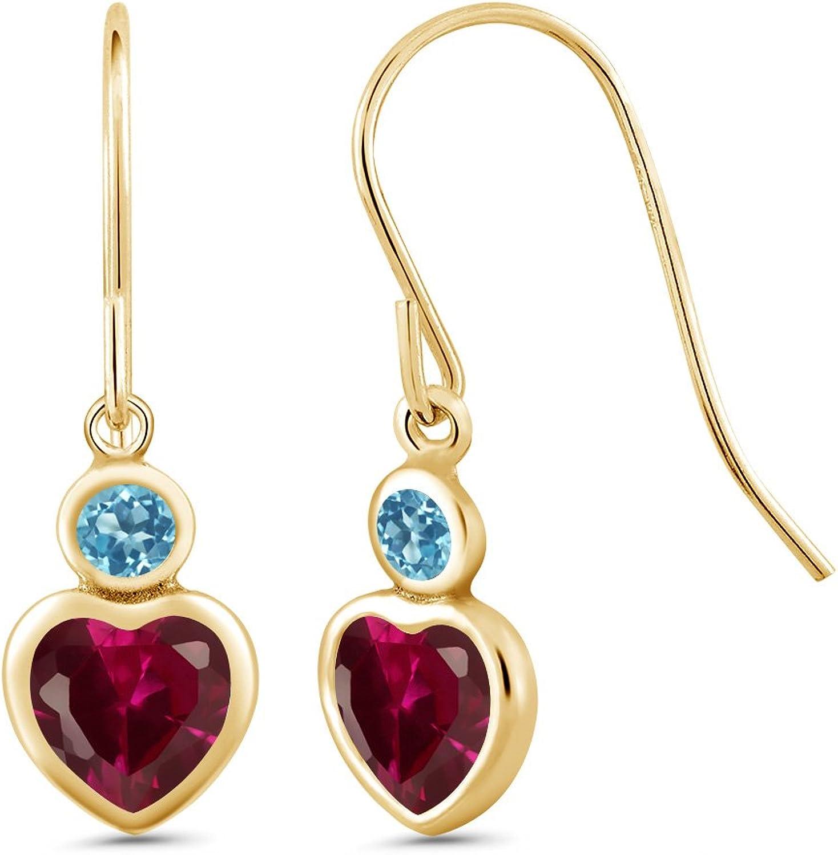 1.50 Ct Heart Shape Red Created Ruby Swiss bluee Topaz 14K Yellow gold Earrings