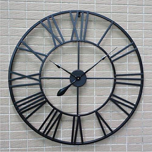 H&M Relojes de pared Retro Negro números Romanos Ronda Reloj de Pared de Pared Reloj de la Tranquilidad Simple Sala de Estar Cocina Restaurante Dormitorio Reloj de Pared -80cm