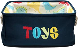 Navy Blue Thick Rectangular Canvas Toy Bin Closet Fabric Storage Basket with a Hard Pad in The Inside