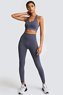Womens Sportswear Set High Waist Gym Leggings & Sports Bra Stretch-Fit Yoga Activewear Set, 2 Pieces Set Soild Color Hip-L...