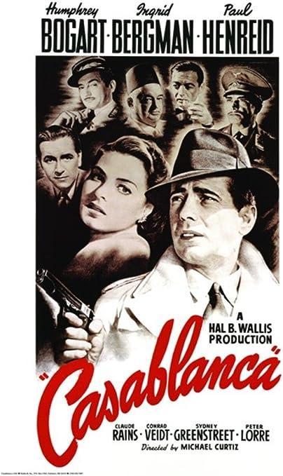 "Casablanca Movie Poster - Humphrey Bogart Ingrid Bergman Paul Henreid  24""x36"" Art Print Poster : Amazon.ca: Home"