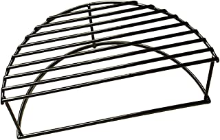 BBQ funland Porcelain Steel 16-Inch Diameter Half Moon Warming/Smoking Rack Grate for Large Grill Dome, Large & XLarge Big Green Egg, AKORN Kamado, Pit Boss, Vision Grill
