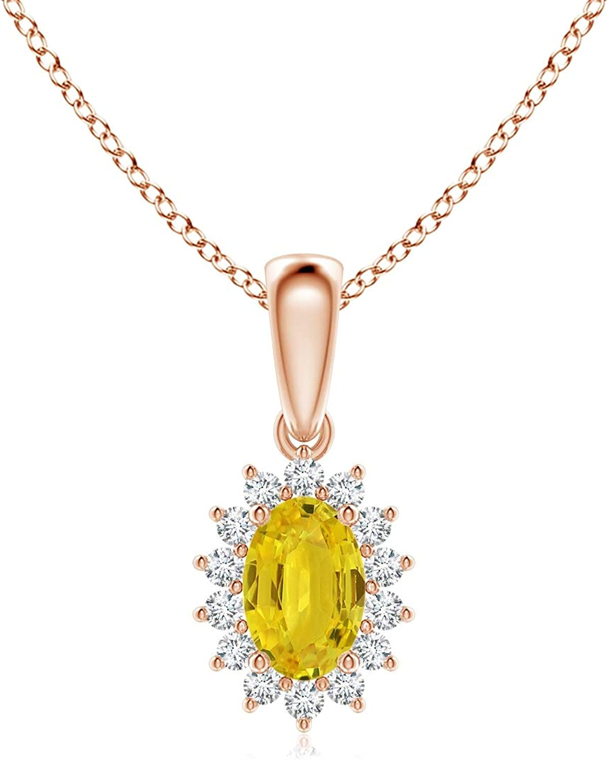 Direct store Oval Yellow Sapphire Pendant with Floral 6x4mm Diamond Yel Regular store Halo
