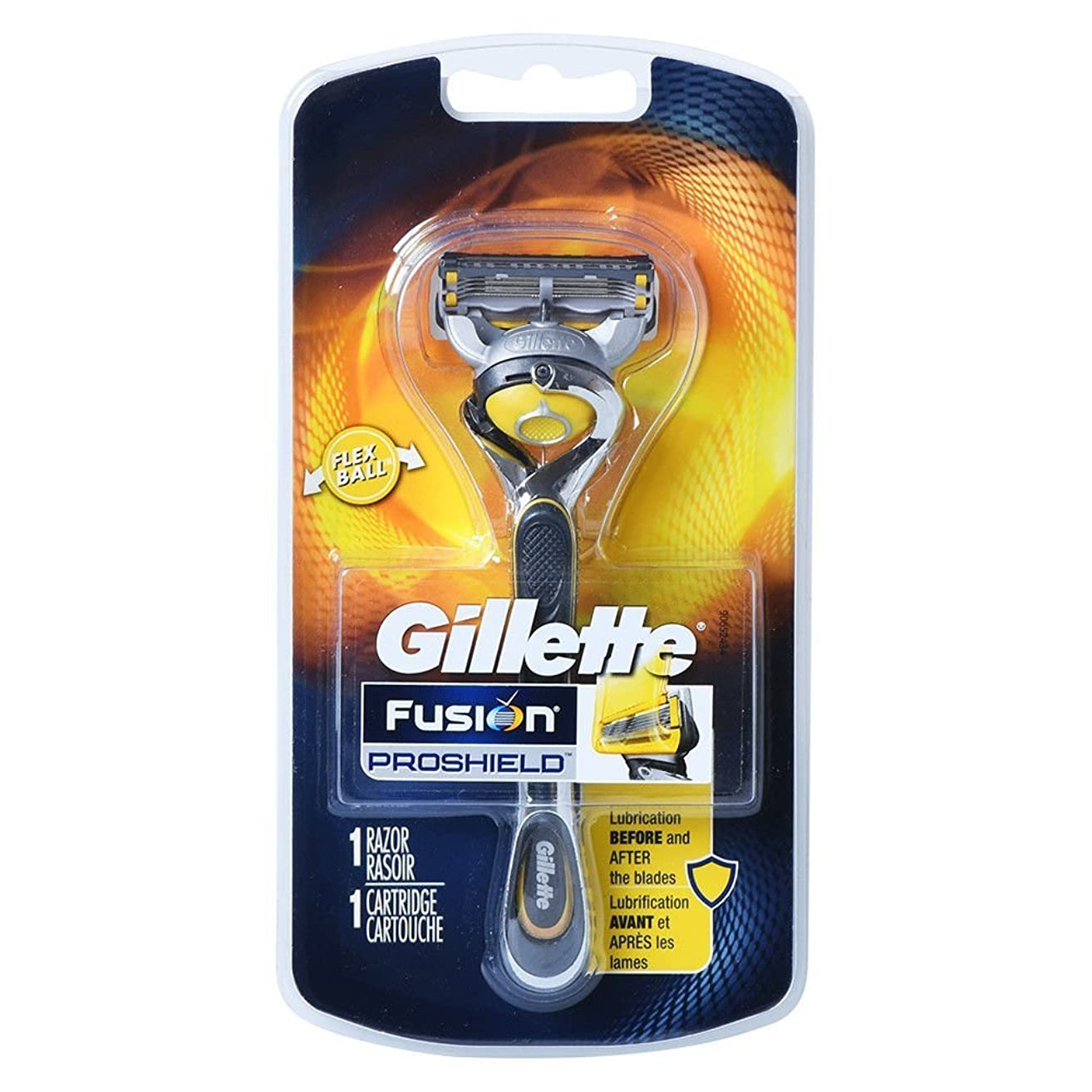 技術者いつでも原理Gillette Fusion Proshield Yellow フレックスボール剃刀でメンズカミソリ Refrills 1 [並行輸入品]