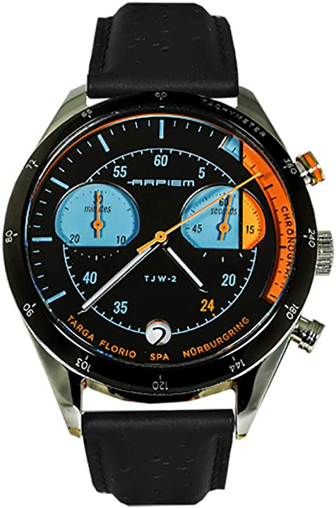 Cronografo quarzo swiss acciaio azzurro arancio nero pelle orologio vintage uomo arpiem tjw-2