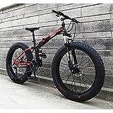 DRAKE18 Bicicleta de Grasa Plegable, 21 Speed Bicicleta de montaña Nevada, Absorción de Choque Doble, Freno de Disco Doble, Bicicleta Todoterreno con neumáticos Gruesos para Adultos,Rojo,26IN