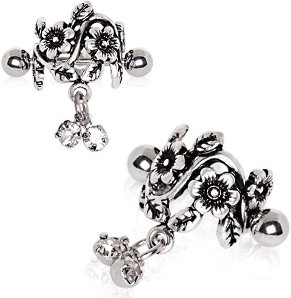 Covet Jewelry 316L Stainless Steel Antique Floral Cartilage Cuff Earring