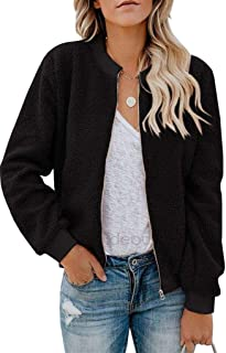 Womens Zip Up Sherpa Bomber Jacket with Pockets Casual Short Coat Outwear