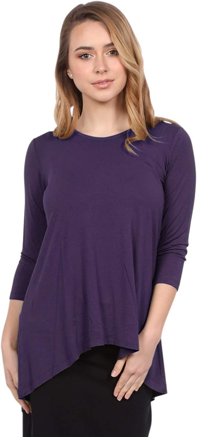 Kosher Casual Women's Modest 3-4 Sleeve 'High Low' Flowing Tunic Top
