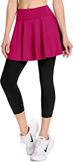 Women Tennis Skirt with Leggings and Pockets Capri Workout Leggings with Skirts Running Skorts