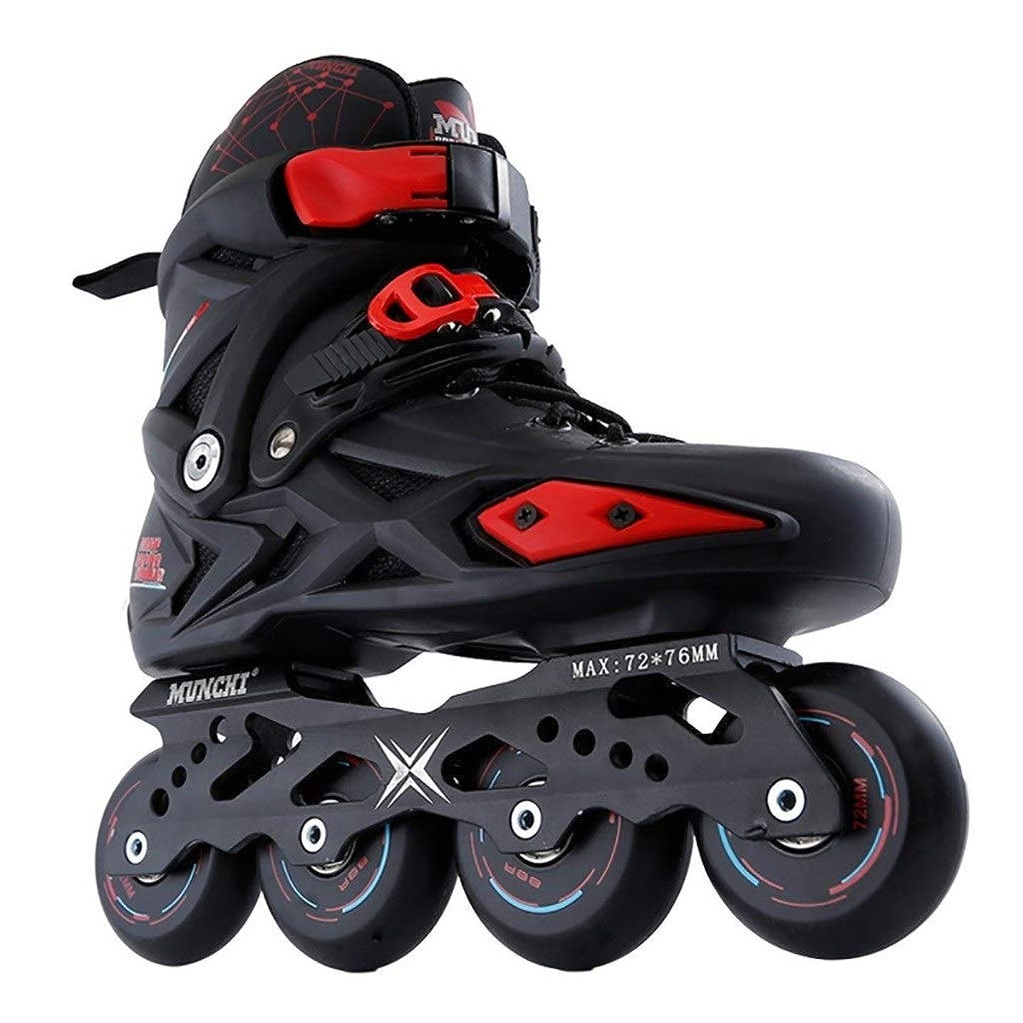 ぼろ淡い部門Ailj インラインスケート 男性と女性のためのインラインスケート、初心者に適した成人大学生の単列スケート、耐摩耗性通気性、サイズ35-44黒と白 高構成プロスケート靴 (Color : Black, Size : EU 44/US 11/UK 10/JP 27cm)