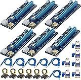 APKLVSR Grafik-Verlängerungsset, PCIe Riser Mining Card PCI-E 009S 1 x auf 16 x Riser-Adapterkarte mit LED, mit 60 cm USB 3.0 Verlängerungskabel, SATA auf 6-poliges Molex-Kabel
