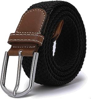 YAOLUU Cinturón de Hombre Casual Pin Hebilla Cinturón Lona Tejida Pantalones no porosos L115CM (Color : A)