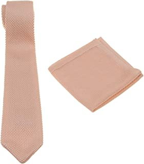 Mens Charm Solid Knit Tie Set : Necktie and Pocket Square - Gift Sets - Various Colors