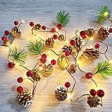 Cortina De Luces Led,Luces De Navidad Decoración De Navidad Al Aire Libre 2M 20 Cadena De Luz Led Luz De Cono De Pino Impermeable Luces De Árbol De Navidad Para Decoración De Fiesta En Casa
