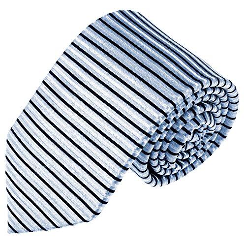 Lorenzo Cana Designer Cravatta 100% seta Cravatta di marca a righe orizzontali argento blu nero Business 84578