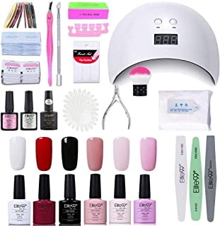 Elite99 Lámpara UV LED para Uñas 24w 6 Colores Kit de Esmaltes Semipermanentes en Gel UV LED Base y Top Coat Semiperman...