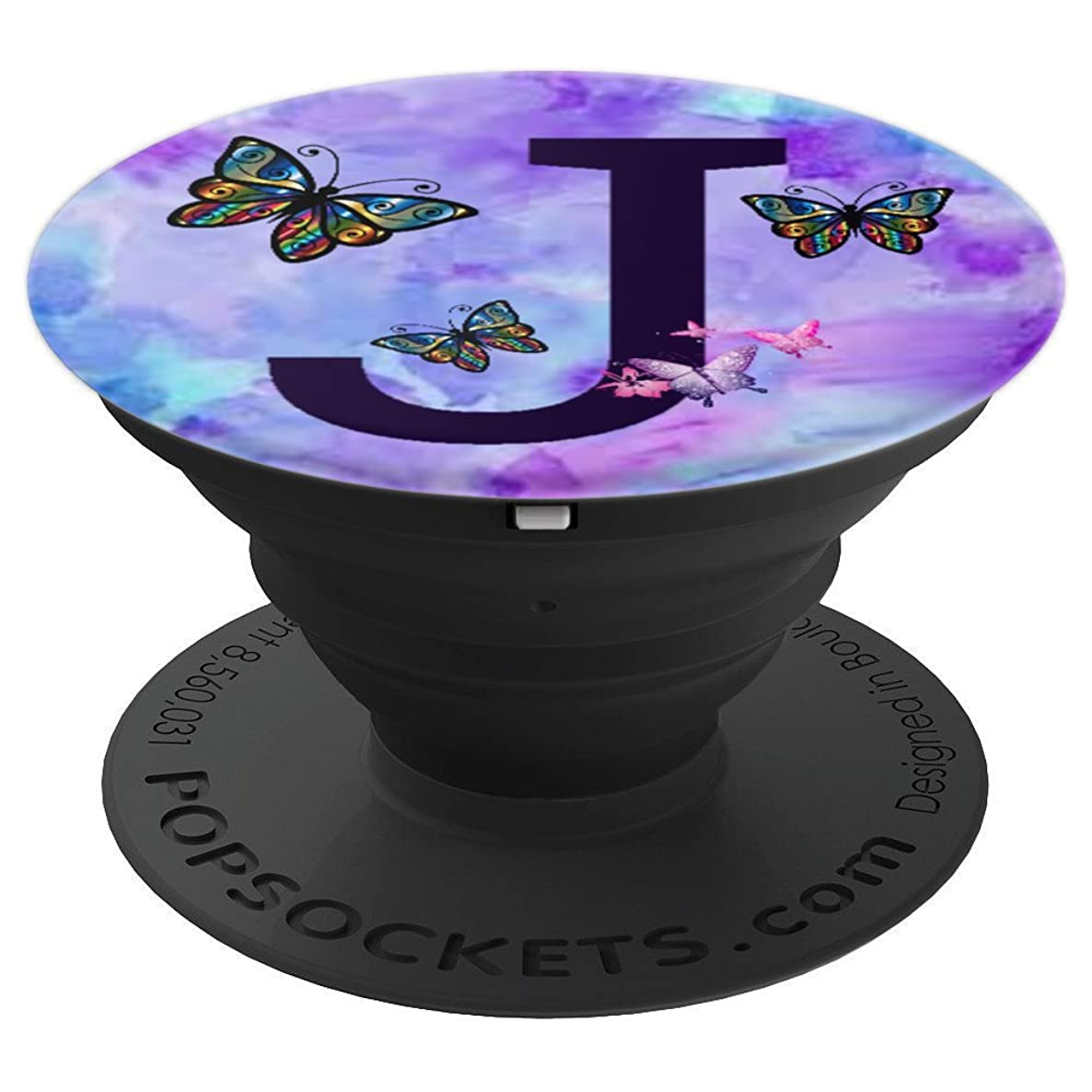Alphabet Letter J - Butterfly Violet , Purple : ( J ) - PopSockets Grip and Stand for Phones and Tablets