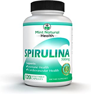 Spirulina Superfood, High in Protein, Iron and B Vitamins - 120 x 500mg Vegan, Non-GMO, Powder Veggie Capsules - Supports Body Detox, Immune System, Brain, Lung and Cardiovascular Health