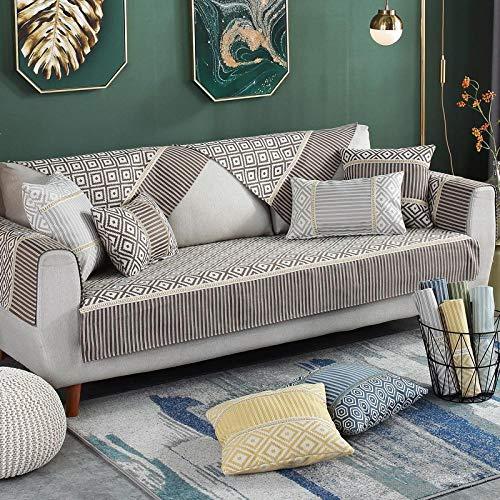 YUTJK Funda se Puede Empalmar de Sofá Funda para sofá Antideslizante Protector Cubierta de Muebles,Cubierta de sofá de algodón de patrón Tejido-marrón_110×210cm
