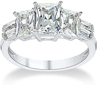 Montage Jewelry Women's Exquisite Princess & Baguette Cut Cubic Zirconia Sterling Silver Engagement Ring