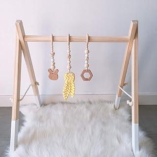 Caudblor Speltrapez trä babyleksak pussel gym inkl. hänge babygymnastik aktiv leksak babyrum barnkammare dekoration (vit)