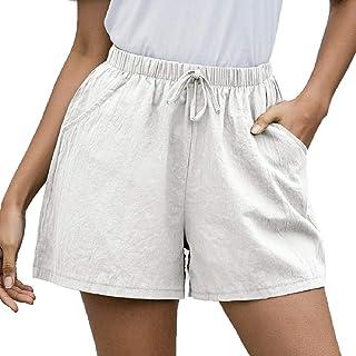 SELX Women Casual Shorts Pockets Linen Elastic Waist Shorts