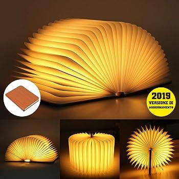 infinitoo Lampada Libro USB Ricaricabile Pieghevole LED Luce   3 Colori Luce Lampada a Forma di Libro 1700 mAh del Libro per
