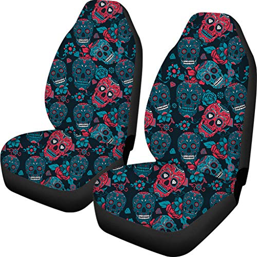CLOHOMIN Cool Skull Print Seat Protection Car Seats Cover Nonslip Backing Vehicle Cushion Mat