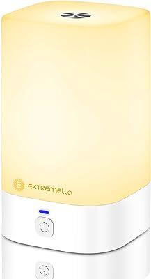Extremella Lámpara de Mesilla para Dormitorio y Sala de Estar, Luz Nocturna LED Táctil con 256 Colores RGB, Regulación Continua, 4 Modos de Iluminación, Luz Ambiente Inalámbrica de Carga USB Tipo C