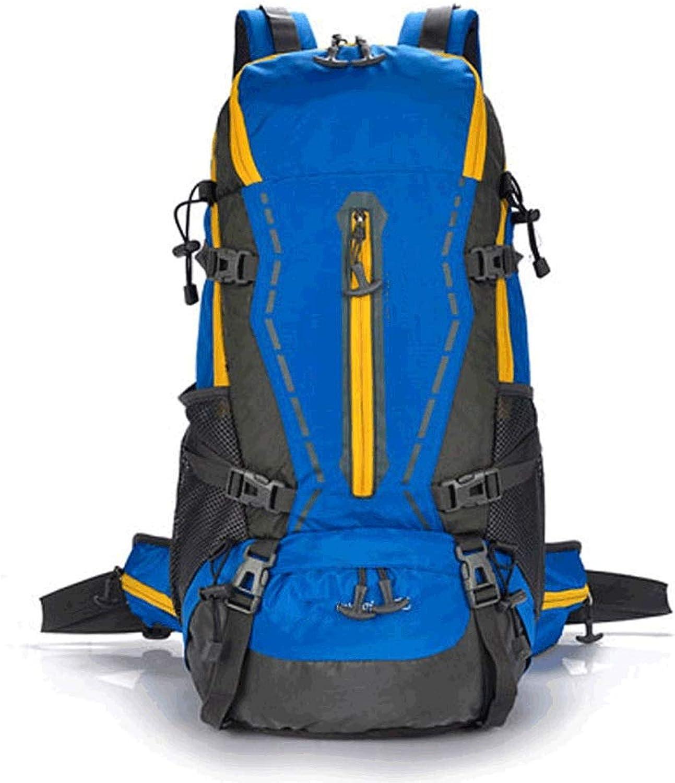ZH Hiking Daypacks Outdoor Backpack Professional Mountaineering Bag BackpackWaterproof Large Capacity 50L Backpacking Bag (color   blueee)