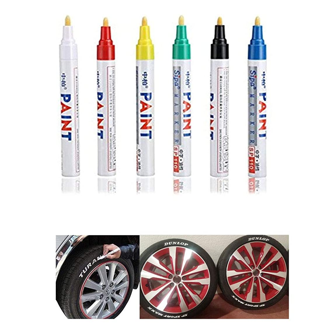 CHUDAN 6 Pieces Waterproof Tire Pen Tire Marker Car, Motorcycle Bicycle Tire Treading Marker Pen Permanent Tire Marker Pen Fills Scratches