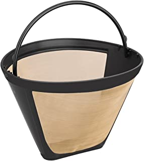 NRP Steel Micro-mesh Gold-tone Permanent Coffee Filter for KRUPS F0494210 Coffeemaker 8-12cup, Universal Fit Cone GTF